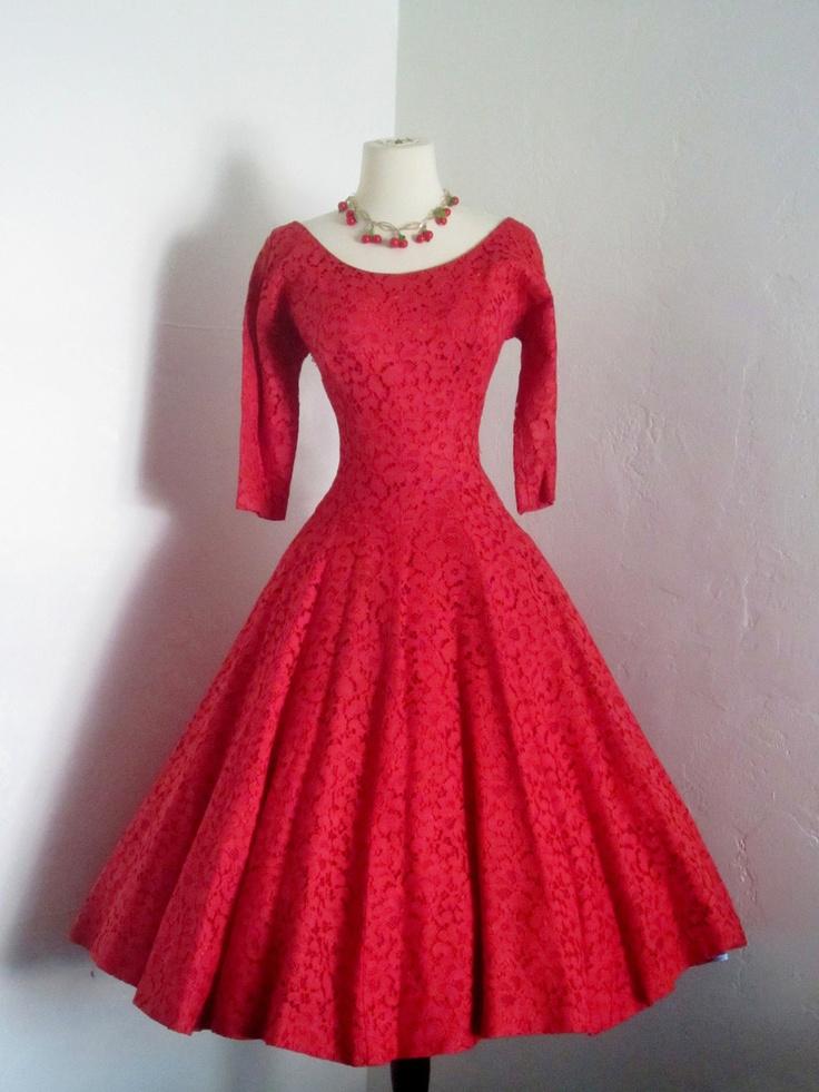 vintage 1950's Jonathan Logan romantic lipstick red lace cocktail dress