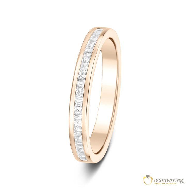 Der feine Halb-Mémoire Diamantring Arcos Nr 1 ist auf der oberen Seite mit 10 Diamanten im Princess-Cut besetzt. Aus 18 Karat / 750er Roségold von wunderring® Jetzt als Musterrring testen! #Ehering #Hochzeit #Trauring