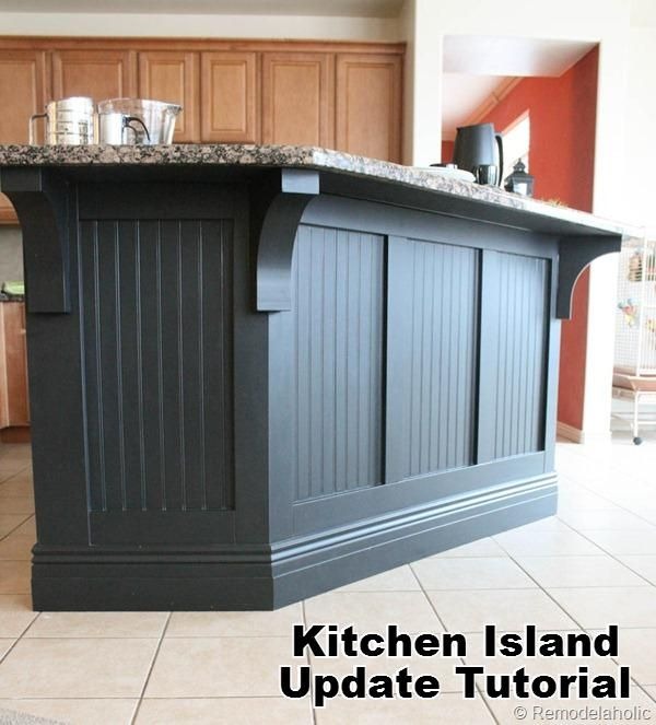 Kitchen island makeover and tutorial how to do it. #moldings #kitchen_island