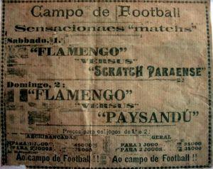 Entrada para um jogo de futebol entre o Flamengo, do Rio de Janeiro, e Paysandu, do Pará, em 1916.