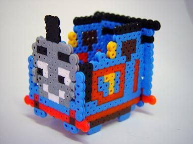 3D Thomas the Tank Engine perler beads - Pattern: https://www.pinterest.com/pin/374291419010911871/