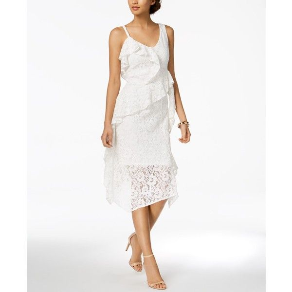 Taylor Ruffled Lace Midi Dress ($118) ❤ liked on Polyvore featuring dresses, white, white lace cocktail dress, midi wrap dress, ruffle dress, lace wrap dress and ruffle wrap dress