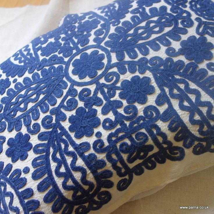 Antique vintage embroidred cushion cover from the Kalotaszeg region of Transylvania Embroidered in navy cotton with original tie fastening This cover