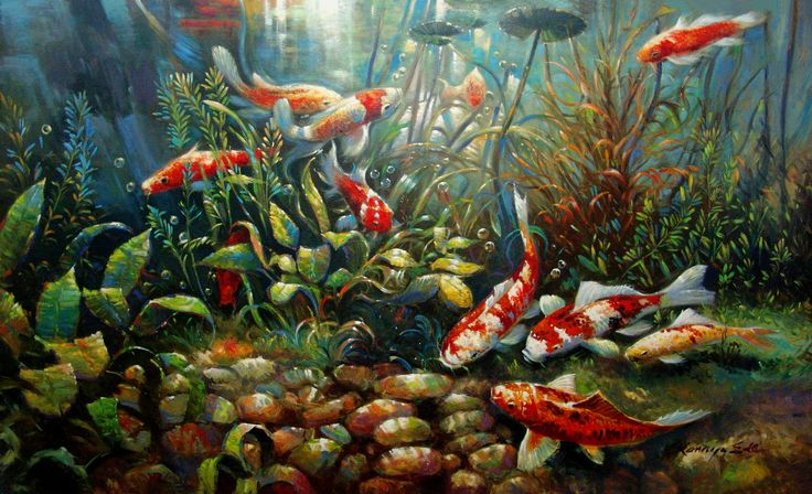 36in X 60in Original Oil On Canvas Tropical Koi Fish