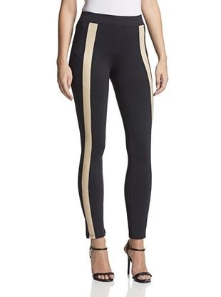 64% OFF David Lerner Women's Leather Trim Tuxedo Legging (Black/Nude)