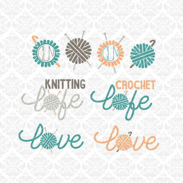 Knitting Logo Ideas : Knitting knitter crochet crocheter life love monogram yarn