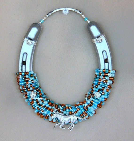 Decorated Horseshoe with Beads and Silver Horse Embellishment