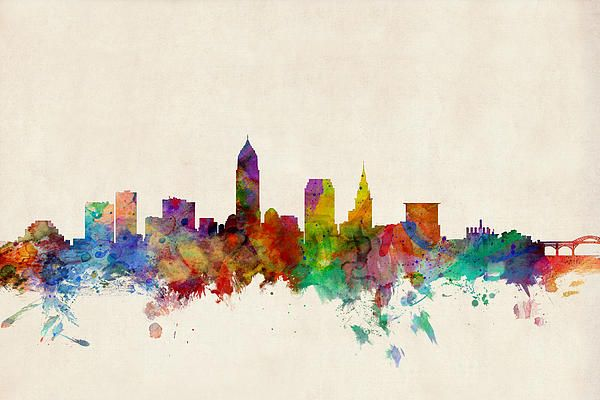 Cleveland ohio skyline watercolors awesome and ohio for Cleveland skyline tattoo