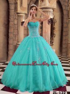 Turquoise Ball Gown Floor-length Organza Beading Quinceanera Dress, Elegant Quinceanera Dresses, Cheap Quinceanera Dresses, Discount Quinceanera Dresses