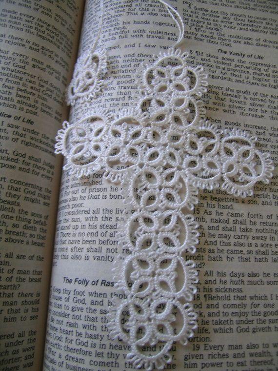 White Lace Tatted Cross Handmade Tatting by FairyTattingAndTings