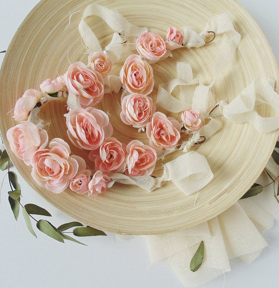 Coroncina con Fiori Rosa Chiaro Corona di Fiori di SofiBabyProps