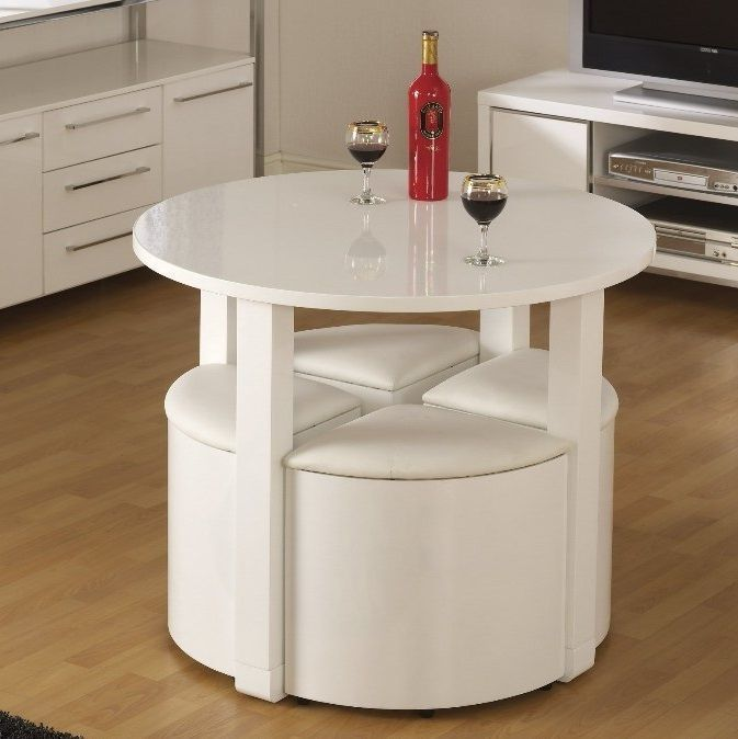 Space Saving Dining Table Small Breakfast Room White High Gloss And 4  Chairs Set