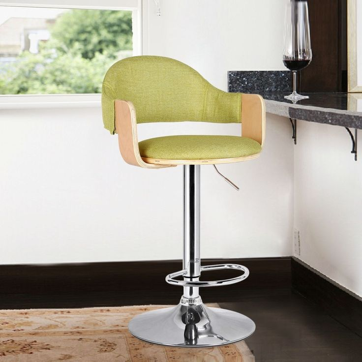 Adeco Light Wood Green Fabric Cushioned Low Back Chrome Pedestal Base Hydraulic Lift Adjustable Bar Stool
