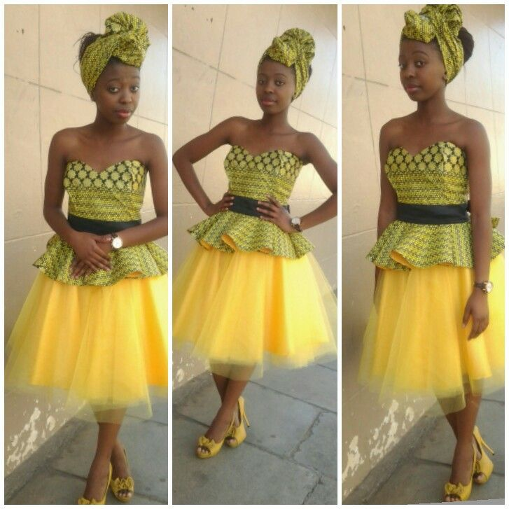 African print top with tulle skirt