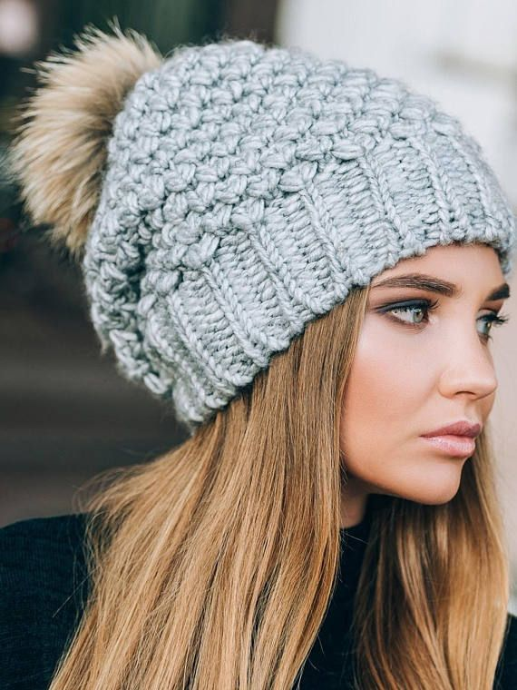 459c505dac2 Gray Fur Pom pom slouchy beanie fleece lined White slouchy fur pom pom  beanie provides a solid dose of warmth and style for any lifestyle and  activity It is ...