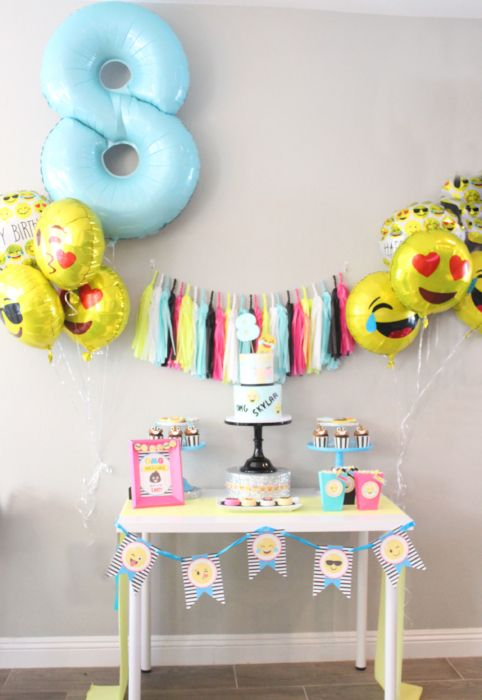 This year for my daughter's 8th Birthday she wanted an Emoji theme party. Which seems to be really popular with kids this age and up. We had so many girls + boys this year that we had to move her party from our house to Dave & Busters which worked out great, but that meant I couldn&#039