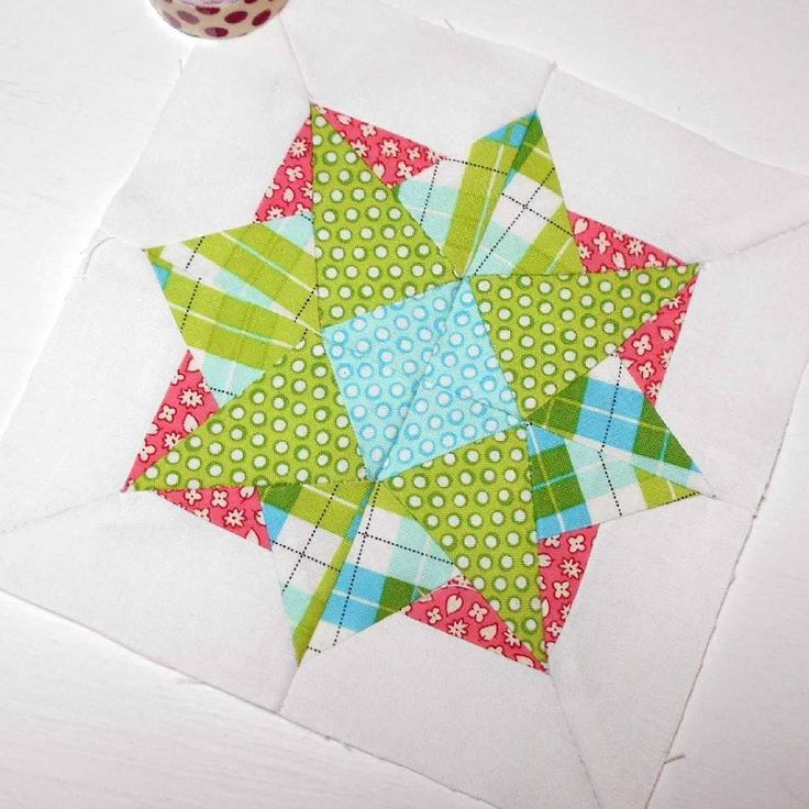 The Splendid Sampler block no. 87 - Shining Star.  Paper-pieced block with tricky inset seams.