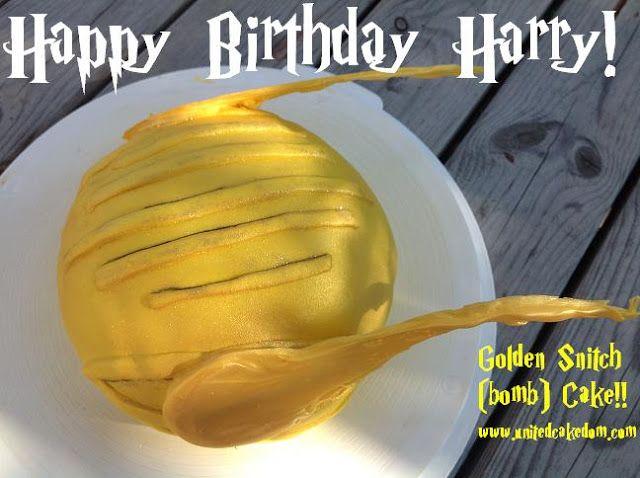 United Cakedom: Golden Snitch Bomb Cake {Happy Birthday Harry!}