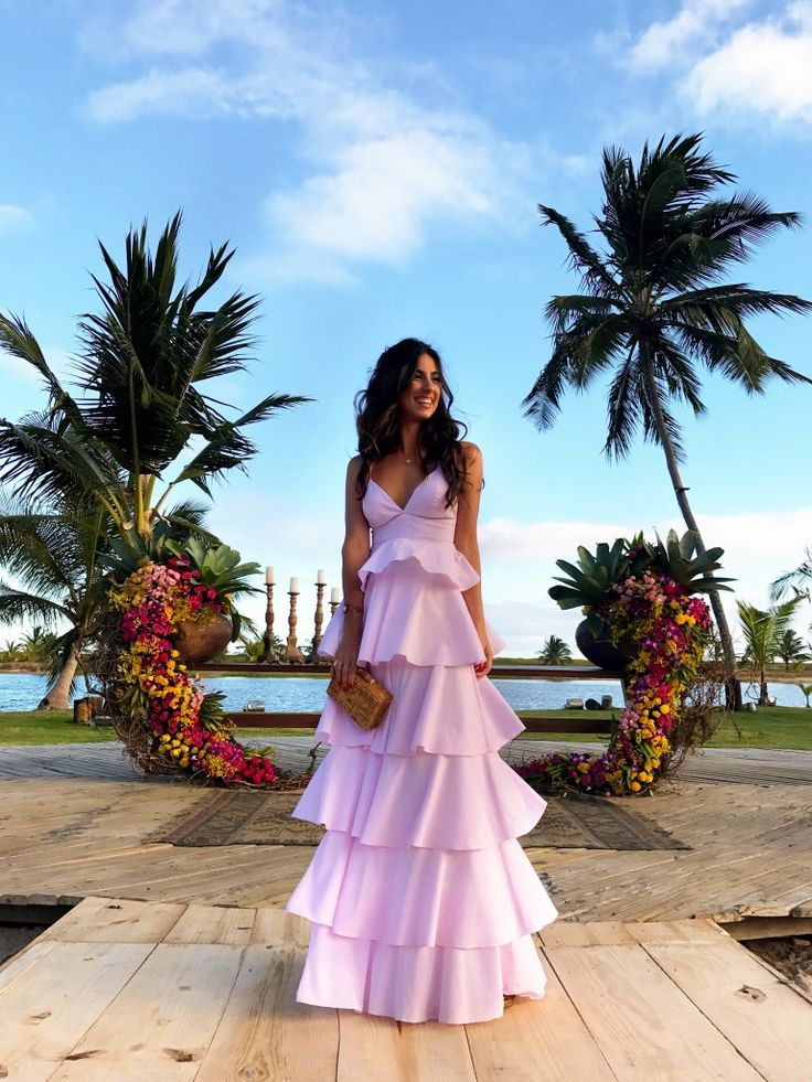 Luiza Sobral Look do Dia Casamento em Barra de São Miguel Vestido Longo Rosa Bebê (tons pasteis) Babados Iorane