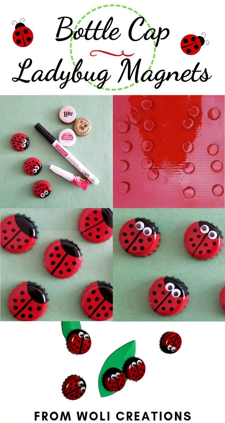 Bottle Cap Ladybug These Super Cute Upcycled Ladybugs Are So Easy To In 2020 Diy Bottle Cap Crafts Bottle Cap Crafts Beer Bottle Cap Crafts