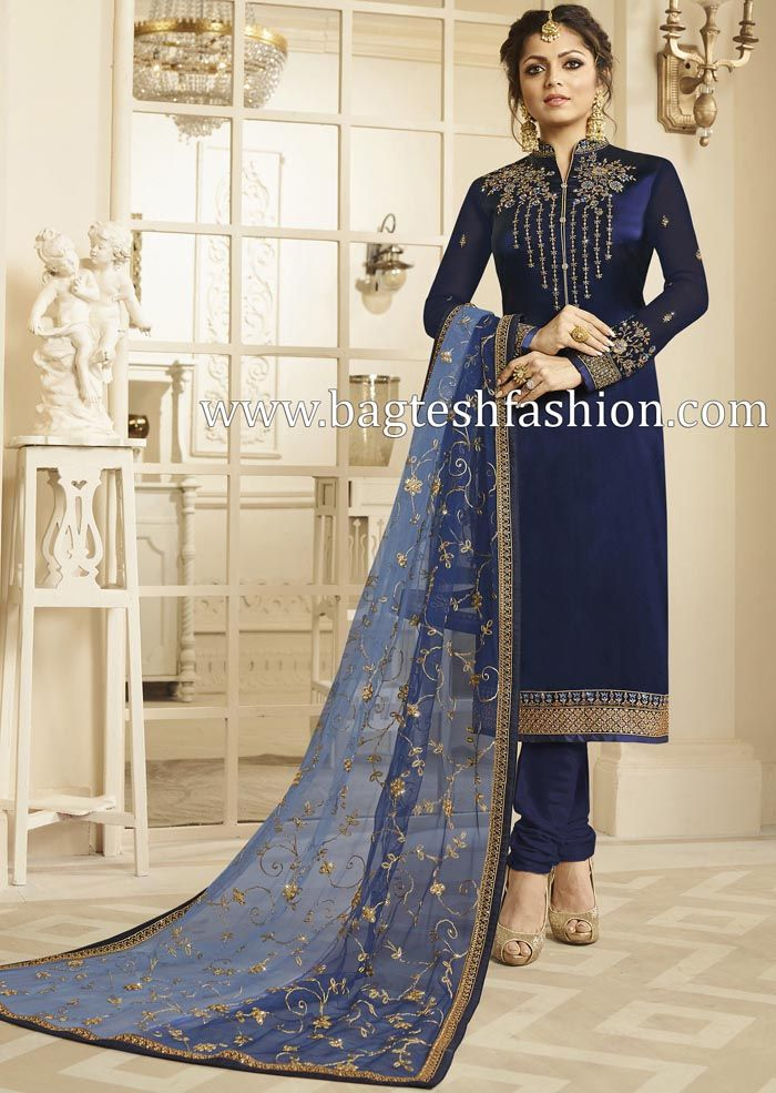 734d23fa9320b Eid special satin georgette royal blue salwar suit embellished with  embroidery, stone work, zari and border work. Comes with matching bottom as  churidar ...