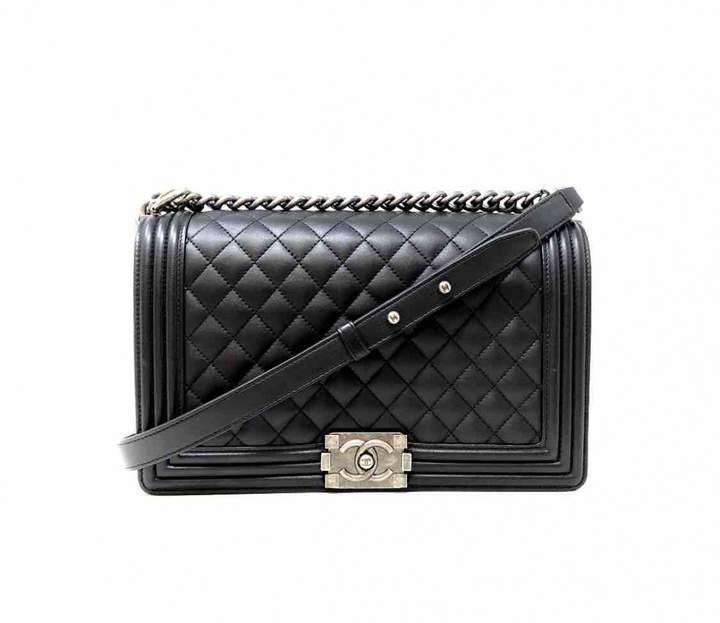 Chanel Boy Black Leather Handbag Black Leather Handbags Luxury Handbag Brands Handbags Australia