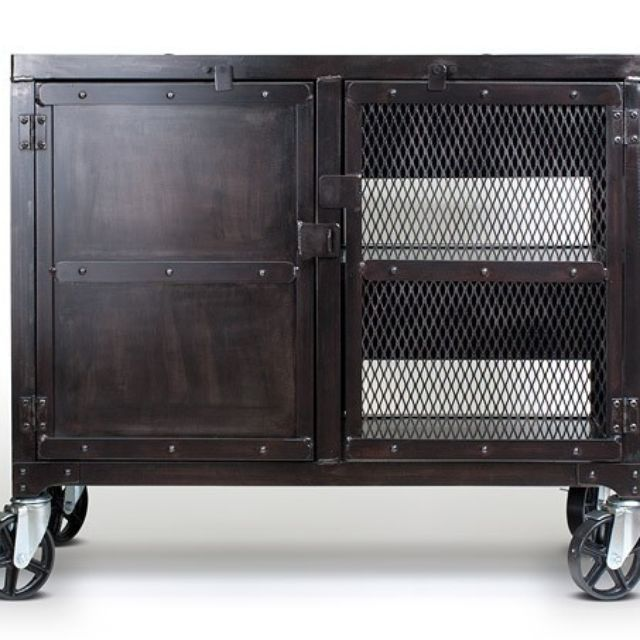 Real Industrial Edge Furniture Llc   Rolling Industrial Kitchen Cart, Media  Cabinet   Small Rolling Cabinet With Wine Storage Inside.