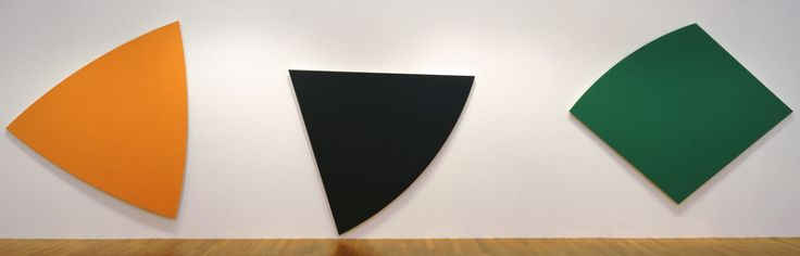 2-D SHAPE  In this photo by Ellsworth Kelly it shows three different colored 2 dimensional shapes pushed up against a wall.  Kelly, E. (1986). Three Panels. Retrieved September 15, 2015, from http://www.moma.org/collection/works/80342?locale=en