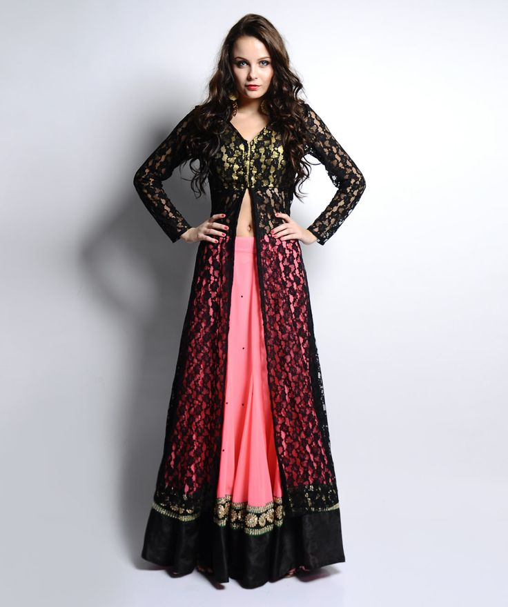 fashionandyou.com brings to you Drapes & Silhouettes, a brand driven by the spirit of fashion. With unique and varied styles of the Indian yarn, this collection is highlighted with exclusive designs. Adorned with colourful threads and vivacious hues, it gives an ethnic and aesthetic look to your attire.BRAND: Drapes & SilhouettesCATEGORY: Jacket with LehengaCOLOUR: Top: Black and GoldBottom: Coral PinkMATERIAL: Top: NetBottom: GeorgetteSIZE: This product conforms to the standard brand ...