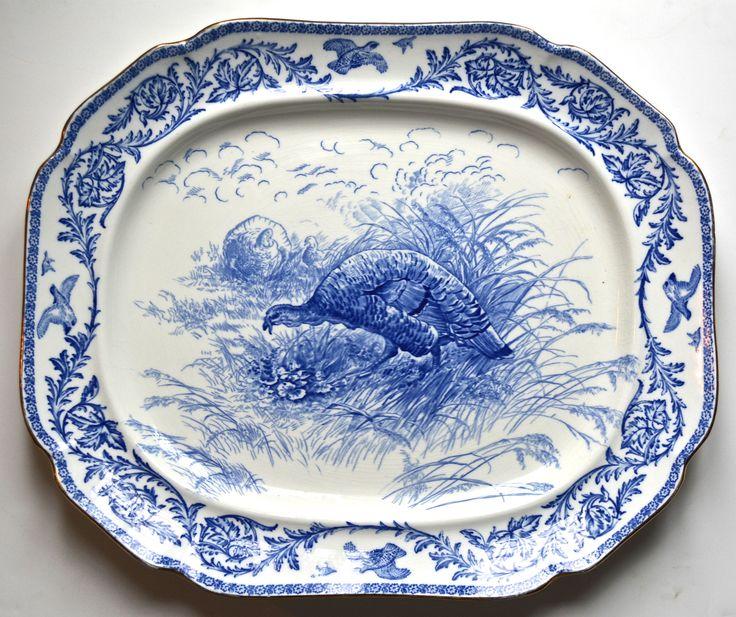 Antique Blue Transferware Staffordshire Thanksgiving Turkey Platter