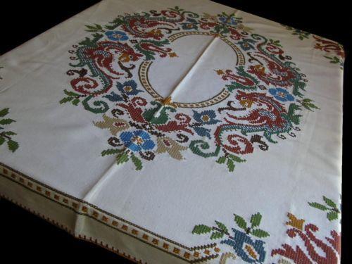 "Vtg Cross Stitch Dragon Griffen 54"" x 57"" Earth Tones Floral Tablecloth German   eBay"