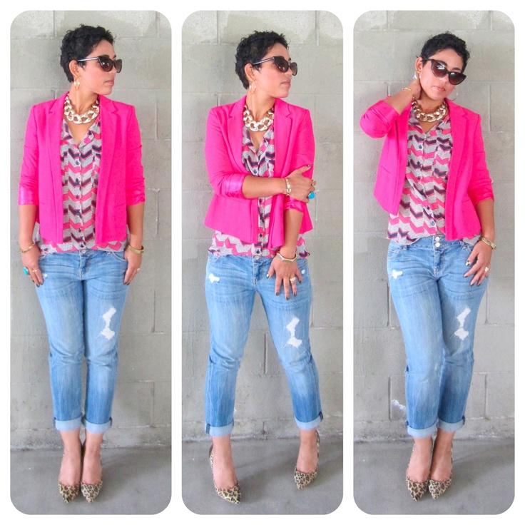 Hot Pink & Navy Blue Stripe Button Up Shirt, Hot Pink Blazer, Frayed Denim Capris, Leopard Print Heels