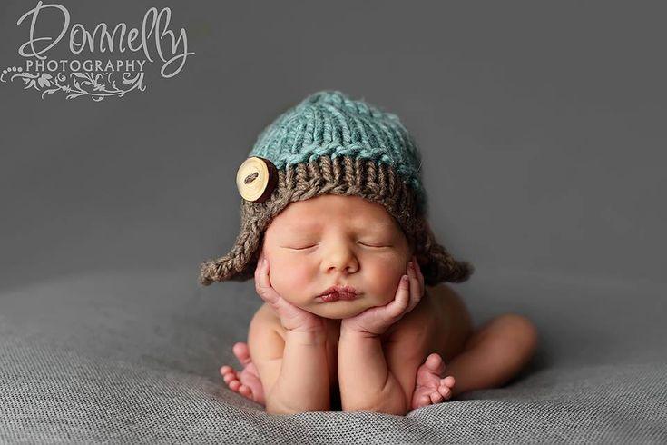 Knit Aviator hat baby boy hat knit baby hat by Knitzbybeansknots, $33.00