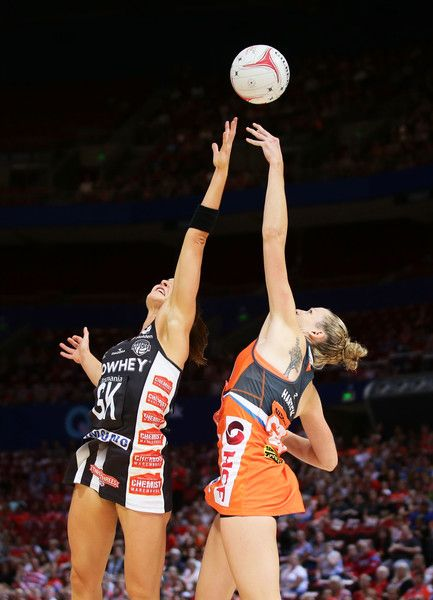Jo Harten of the Giants competes with Sharni Layton of the Magpies during the round nine Super Netball match between the Giants and the Magpies at Qudos Bank Arena on April 23, 2017 in Sydney, Australia.
