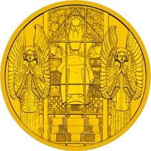 Koloman Moser's design from the Steinhof Church was selected as the motif for one of the most famous euro collector coins—the Austrian 100 euro Steinhof Church commemorative coin, minted in November 2005. On the reverse of the coin, the Koloman Moser stained glass window over the main entrance can be seen