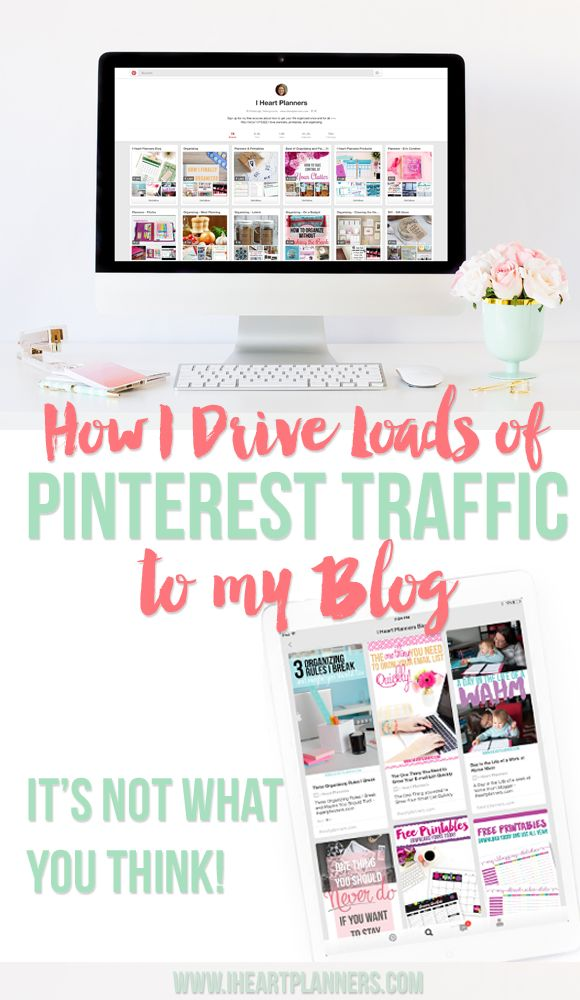 How I drive loads of Pinterest Traffic to my blog - It's not what you think!! - iheartplanners.com