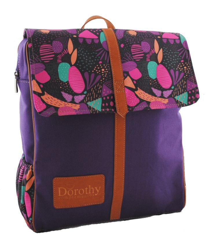 Mochila Retro Mujer Diseño Abstracto Violeta Dorothy