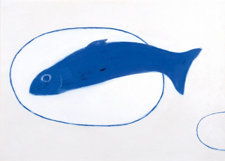 William Scott, Fish Still Life Blue, 1982 or 1983, Oil on canvas, 44.5 × 62.5 cm / 17½ × 24½ in, Maclaurin Trust/South Ayrshire County Council