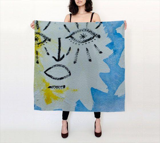 "Lov Watercolour  36""X 36"" Large Square Silk Scarf by LOVEMIZU on Etsy"