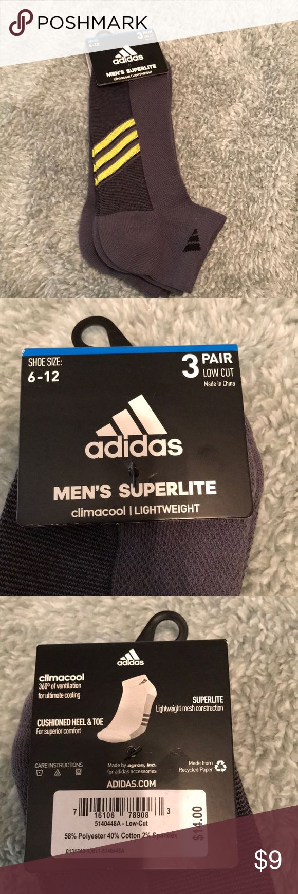 NWT Adidas men's super lite socks Excellent shape and never worn Adidas men's super lite socks. 3 pair in the bundle. 2 have the yellow stripes on the bottom with black Adidas emblem on the side. Ankle cut. Non smoking home adidas Underwear & Socks Athletic Socks
