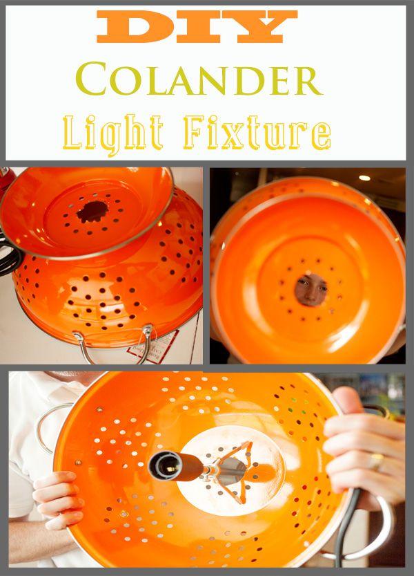 DIY colander light fixture #chandelier www.KristenDuke.com lighting