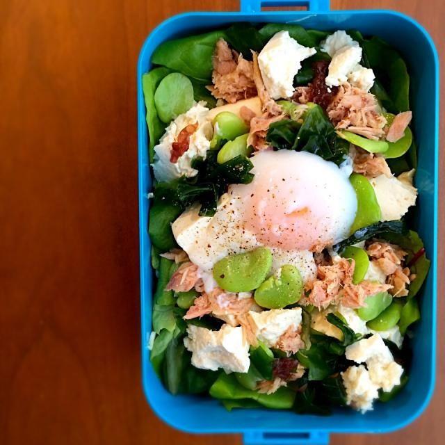 こんにちは。 ランチタイムです。  本日は、お楽しみの 今日は、サラダとスパムおにぎり〜。 ハワイの味を再現できたかなぁ〜?  本日のお弁当 *スパムおにぎり(別写真参照) *春キャベツの千切り *沖縄の島豆腐 *おたふく豆 *シーチキン *わかめと海藻 *ベビーリーフ *温泉卵  ではではいただきます。  - 112件のもぐもぐ - 私のダイエット‼︎ヘルシー弁当♪ 20150422「沖縄の島豆腐のサラダ」 by youstylebiqLy