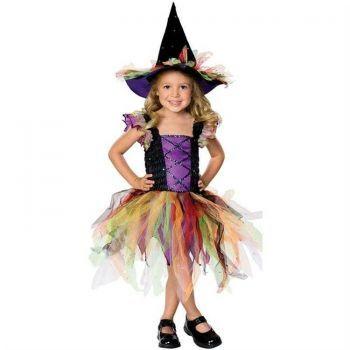 Renkli Cadı Kız Çocuk Kostümü 5-7 Yaş Bebek ve Çocuk Kostümleri Rubies