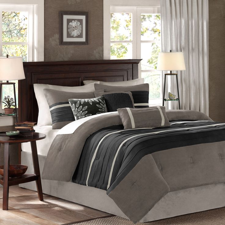 Features:  -Set includes 1 comforter, 2 shams, bed skirt, 3 decorative pillows.  -Material: 100% Microsuede.  Product Type: -Comforter/Comforter set.  Style: -Traditional.  Material: -Microsuede.  Num
