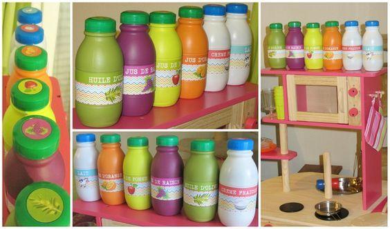 Le coin cuisine et les bouteilles customisées chez Gdine & Co