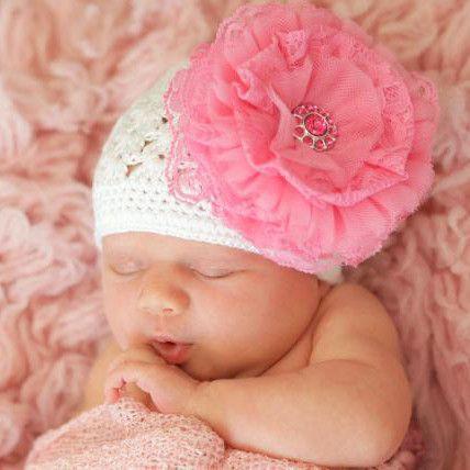 b3f9ea651c6 Prissy Pink Lace Flower White Crochet Baby Girl Hat