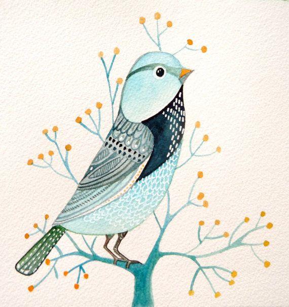 Blue Bird / naturaleza / impresión de Acuarela por sublimecolors