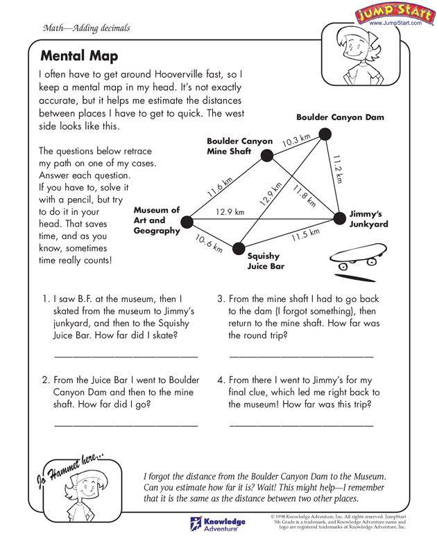 """""""Mental Map"""" – 5th Grade Mental Math Worksheet #JumpStart"""