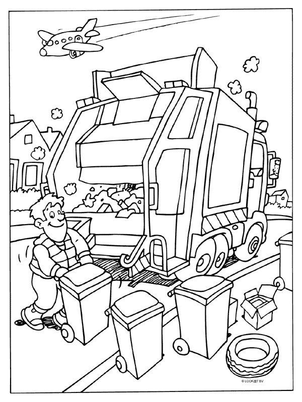 Kleurplaat Vuilniswagen