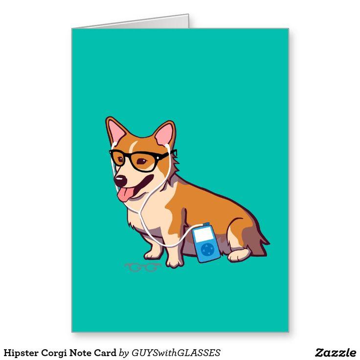 Hipster Corgi Note Card